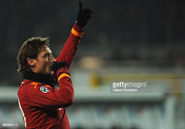 Francesco Totti of AS Roma celebrates his goal during the Serie A match between Juventus FC and AS Roma at Olimpico Stadium on January 23 2010 in...