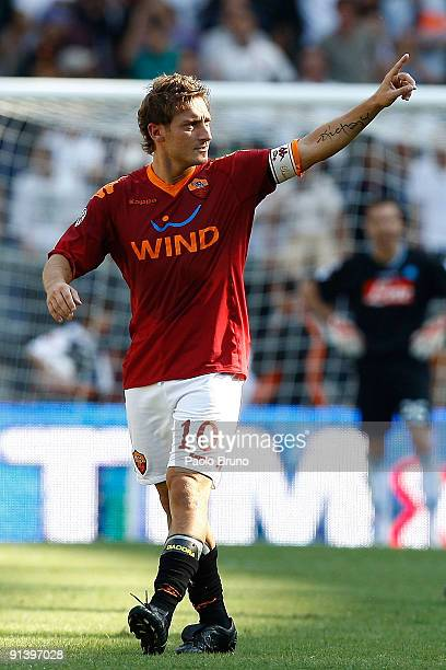 Francesco Totti of AS Roma celebrates the opening goal during the Serie A match between AS Roma and SSC Napoli at Olimpico Stadium on October 4 2009...