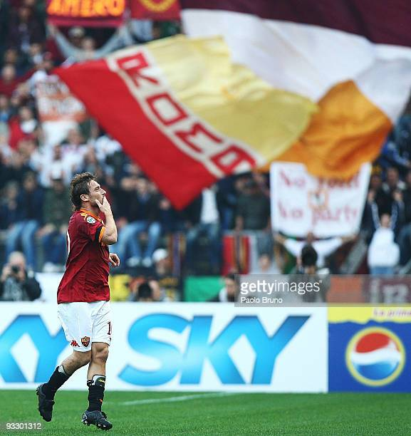 Francesco Totti of AS Roma celebrates the third goal during the Serie A match between Roma and Bari at Stadio Olimpico on November 22 2009 in Rome...