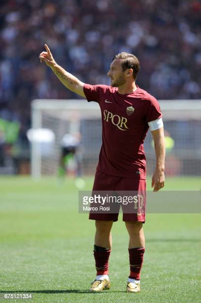Francesco Totti of AS Roma during the Serie A match between AS Roma and SS Lazio at Stadio Olimpico on April 30 2017 in Rome Italy