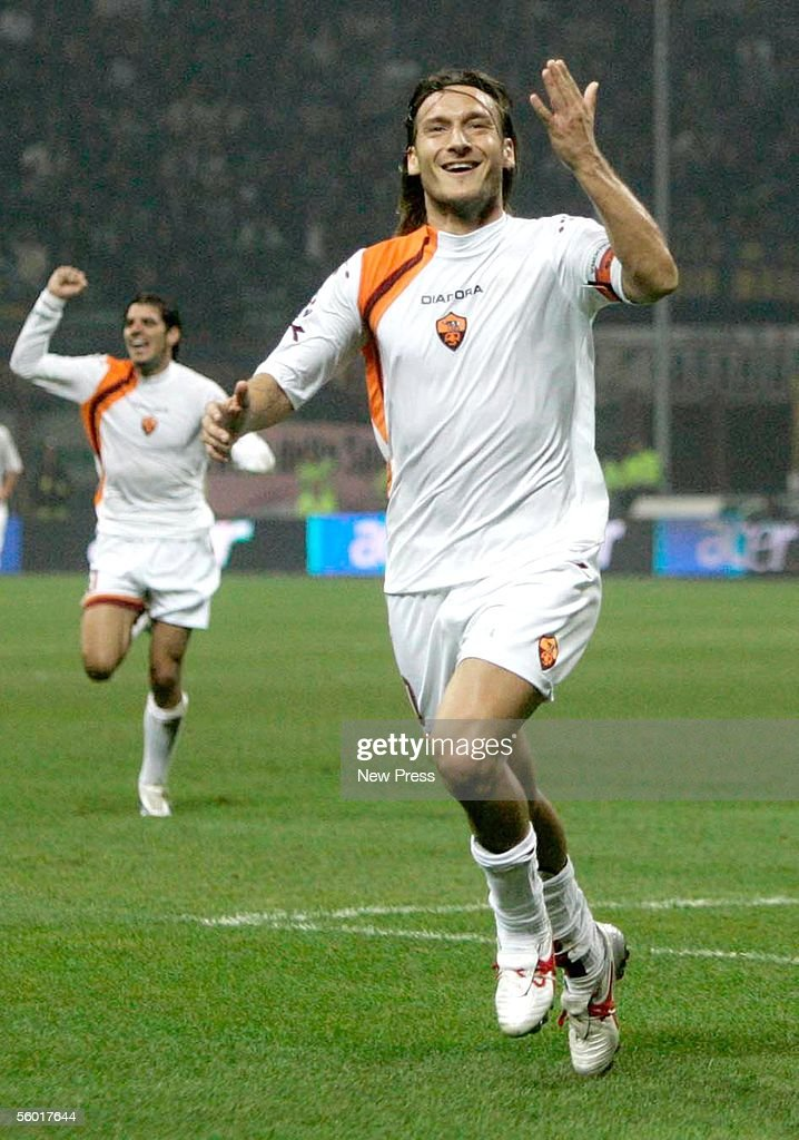 Francesco Totti of AS Roma gestures as he celebrates a goal during the Serie A match between Inter Milan and AS Roma on October 26 2005 at the...