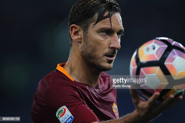 Francesco Totti of AS Roma holds the ball during the Serie A match between AS Roma and FC Crotone at Stadio Olimpico on September 21 2016 in Rome...