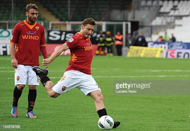 Francesco Totti of AS Roma in action during the Serie A match between AC Cesena and AS Roma at Dino Manuzzi Stadium on May 13 2012 in Cesena Italy