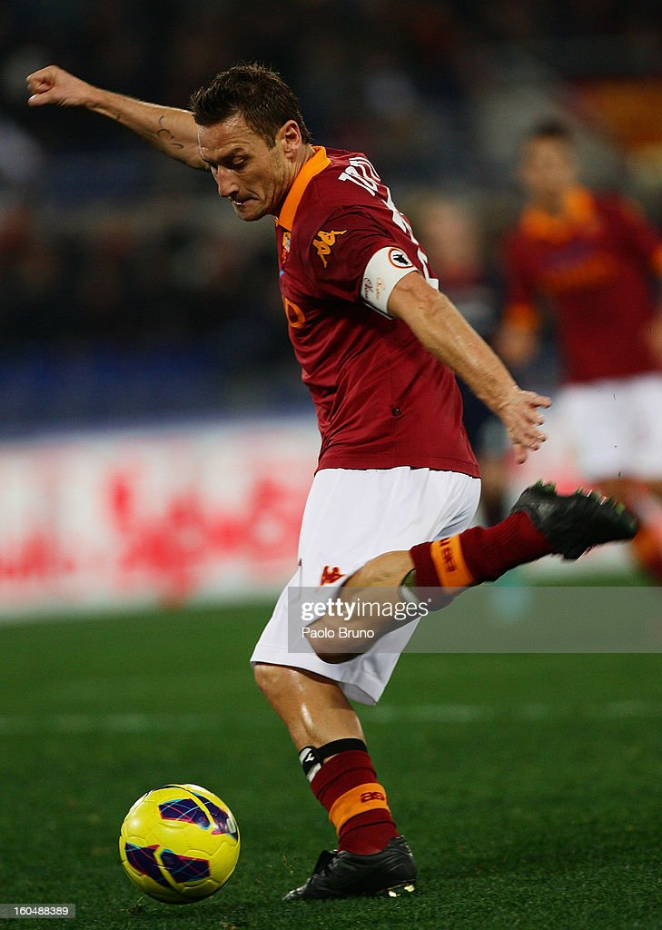 Francesco Totti of AS Roma in action during the Serie A match between AS Roma and Cagliari Calcio at Stadio Olimpico on February 1, 2013 in Rome, Italy.
