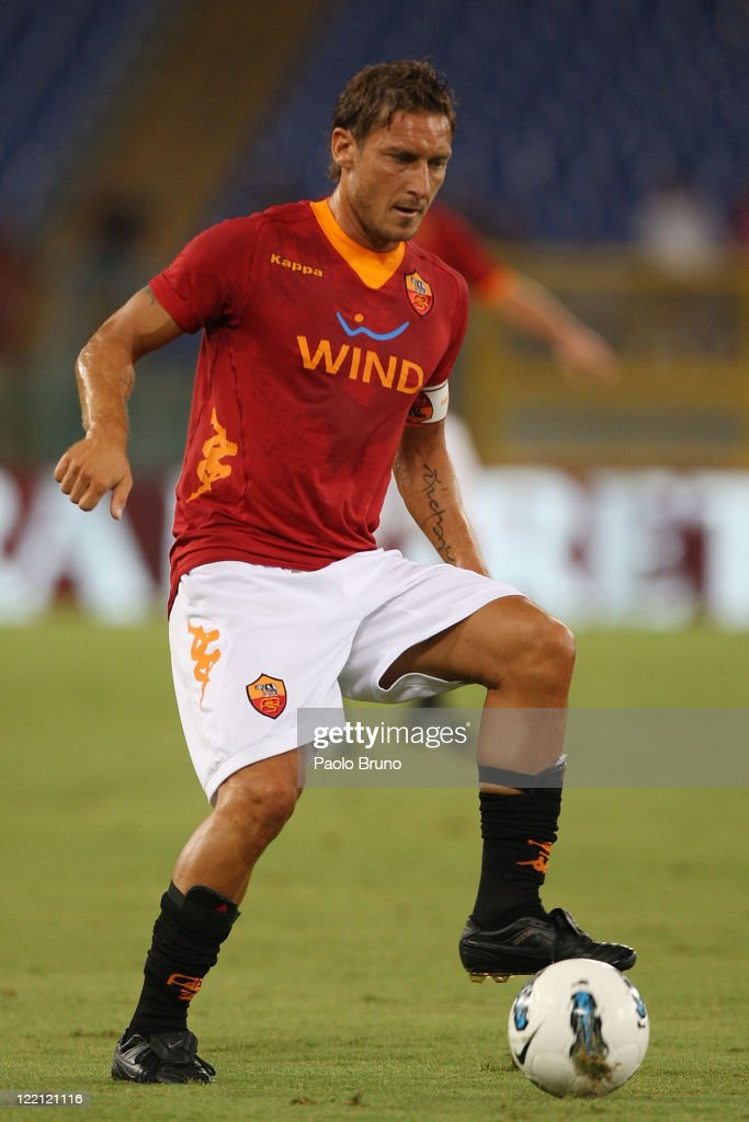 Francesco Totti of AS Roma in action during the UEFA Europa League playoff second leg match between AS Roma and SK Slovan Bratislava at Olimpico...
