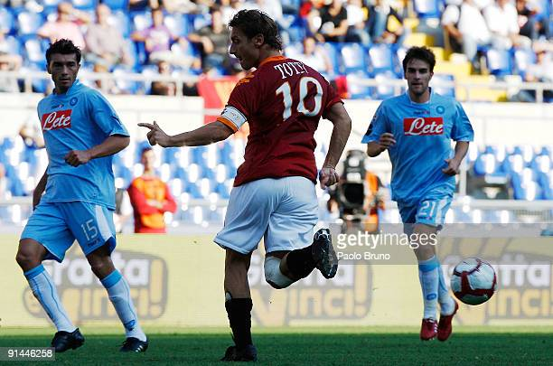 Francesco Totti of AS Roma in action with a backhell during the Serie A match between AS Roma and SSC Napoli at Olimpico Stadium on October 4 2009 in...