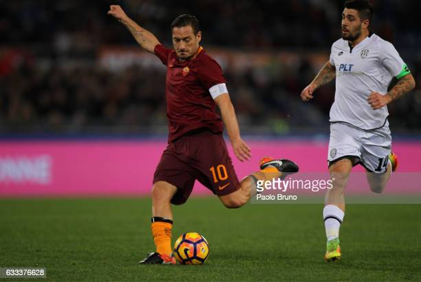 Francesco Totti of AS Roma kicks the ball during the Serie A match between AS Roma and AC Cesena on February 1 2017 in Rome Italy