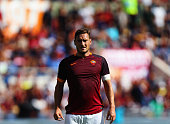 Francesco Totti of AS Roma looks on during the Serie A match between AS Roma and US Sassuolo Calcio at Stadio Olimpico on September 20 2015 in Rome...