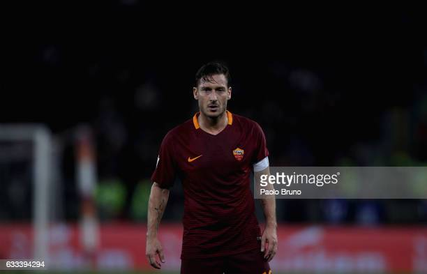 Francesco Totti of AS Roma looks on during the Serie A match between AS Roma and AC Cesena on February 1 2017 in Rome Italy