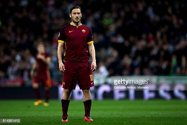 Francesco Totti of AS Roma looks on during the UEFA Champions League Round of 16 Second Leg match between Real Madrid CF and AS Roma at Estadio...