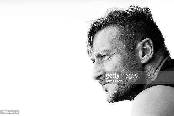 Francesco Totti of AS Roma looks on from the bench during a friendly match against the Boston Bolts at Ohiri Field on July 27 2016 in Cambridge...