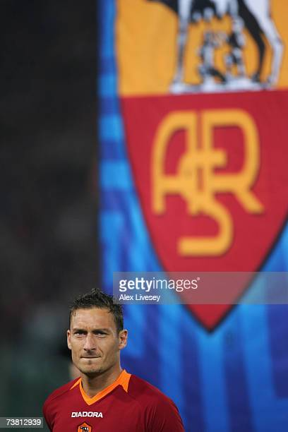 Francesco Totti of AS Roma looks on prior to the UEFA Champions League quarter final first leg match between AS Roma and Manchester United at the...