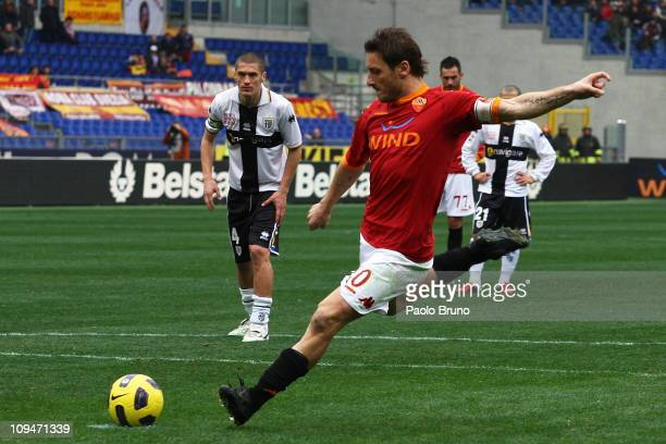 Francesco Totti of AS Roma scores the opening goal with a penalty during the Serie A match between AS Roma and Parma FC at Stadio Olimpico on...