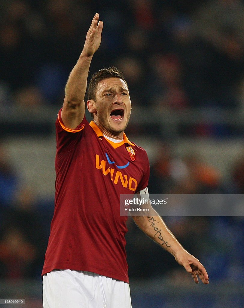 <a gi-track='captionPersonalityLinkClicked' href=/galleries/search?phrase=Francesco+Totti&family=editorial&specificpeople=208985 ng-click='$event.stopPropagation()'>Francesco Totti</a> of AS Roma shouts during the Serie A match between AS Roma and Genoa CFC at Stadio Olimpico on March 3, 2013 in Rome, Italy.