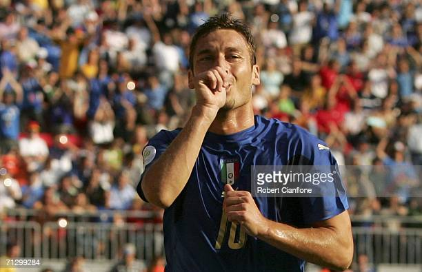Francesco Totti of Italy celebrates after scoring the match winning penalty during the FIFA World Cup Germany 2006 Round of 16 match between Italy...