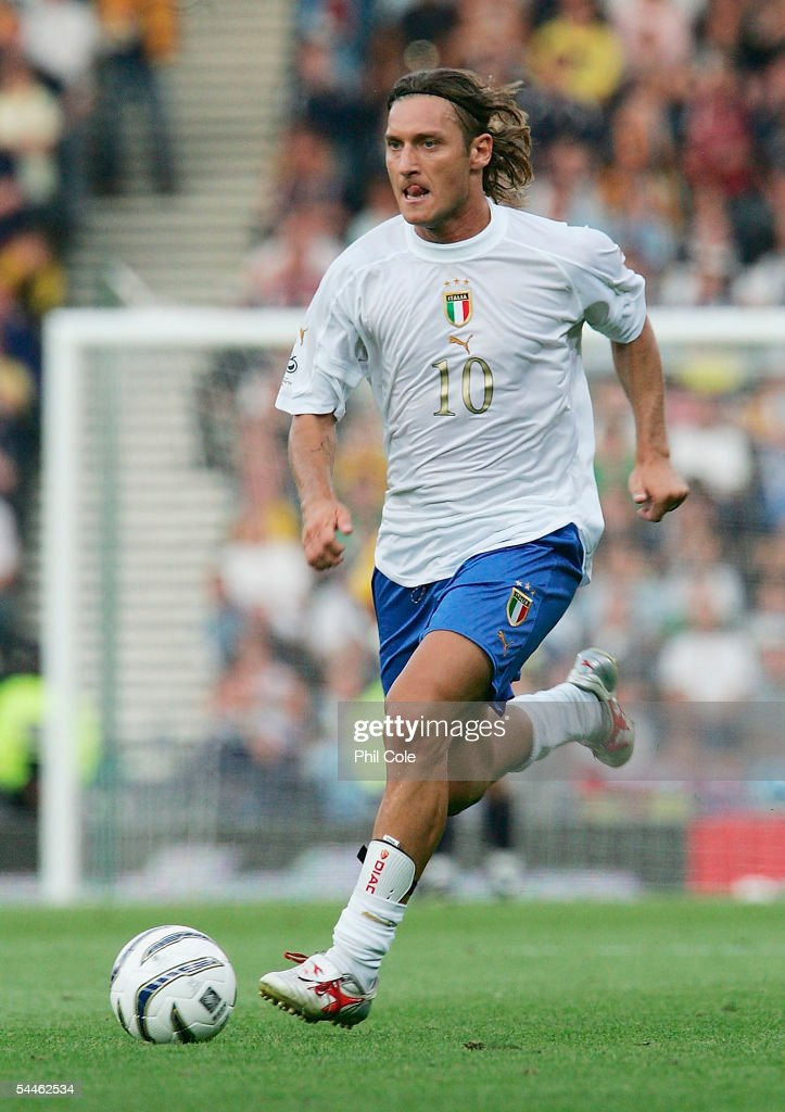 Francesco Totti of Italy during the Group Five FIFA World Cup Qualifying match between Scotland and Italy at Hampden Park Stadium on September 5 2005...