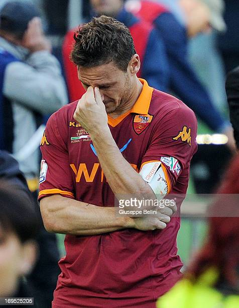 Francesco Totti of Roma after the TIM cup final match between AS Roma v SS Lazio at Stadio Olimpico on May 26 2013 in Rome Italy