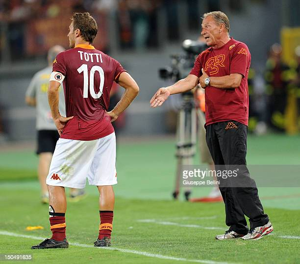 Francesco Totti of Roma and Zdenek Zeman head coach of Roma during the preseason friendly match between AS Roma and Aris Thessaloniki FC at Olimpico...