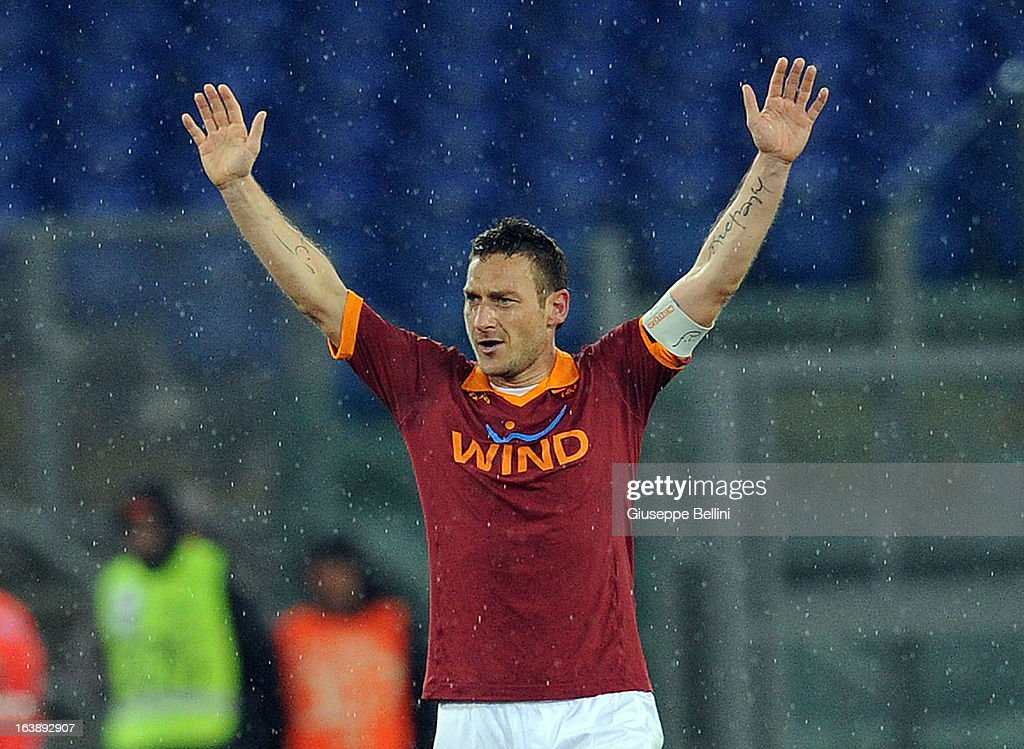 Francesco Totti of Roma celebrates after scoring the goal 2-0 during the Serie A match between AS Roma and Parma FC at Stadio Olimpico on March 17, 2013 in Rome, Italy.