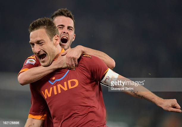 Francesco Totti of Roma celebrates after scoring the opening goal during the Serie A match between AS Roma and Juventus FC at Stadio Olimpico on...