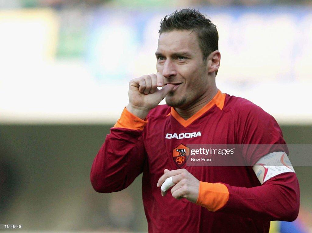 Francesco Totti of Roma celebrates his goal during the match between Chievo and Roma at the Stadio Marc Antonio Bentegodi on February 28 2007 in...