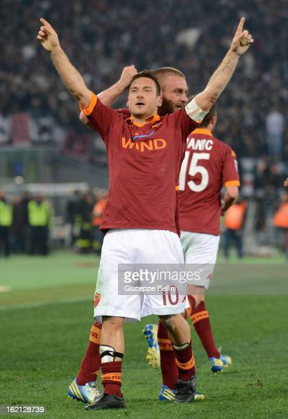Francesco Totti of Roma celebrates his opening goal with teammate Daniele De Rossi during the Serie A match between AS Roma and Juventus FC at Stadio...