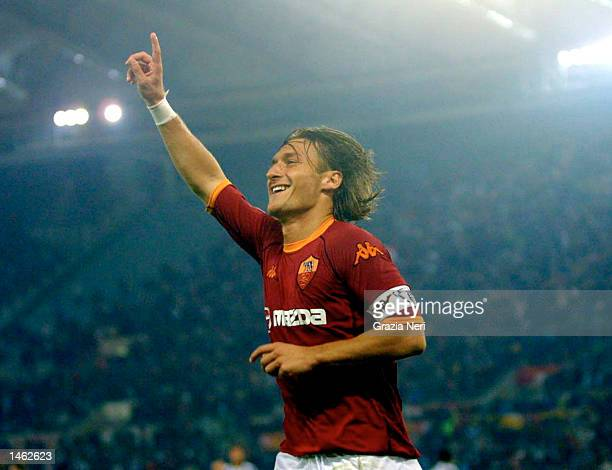 Francesco Totti of Roma celebrates scoring during the Serie A match between Roma and Udinese played at the Olympic Stadium Rome on October 5 2002