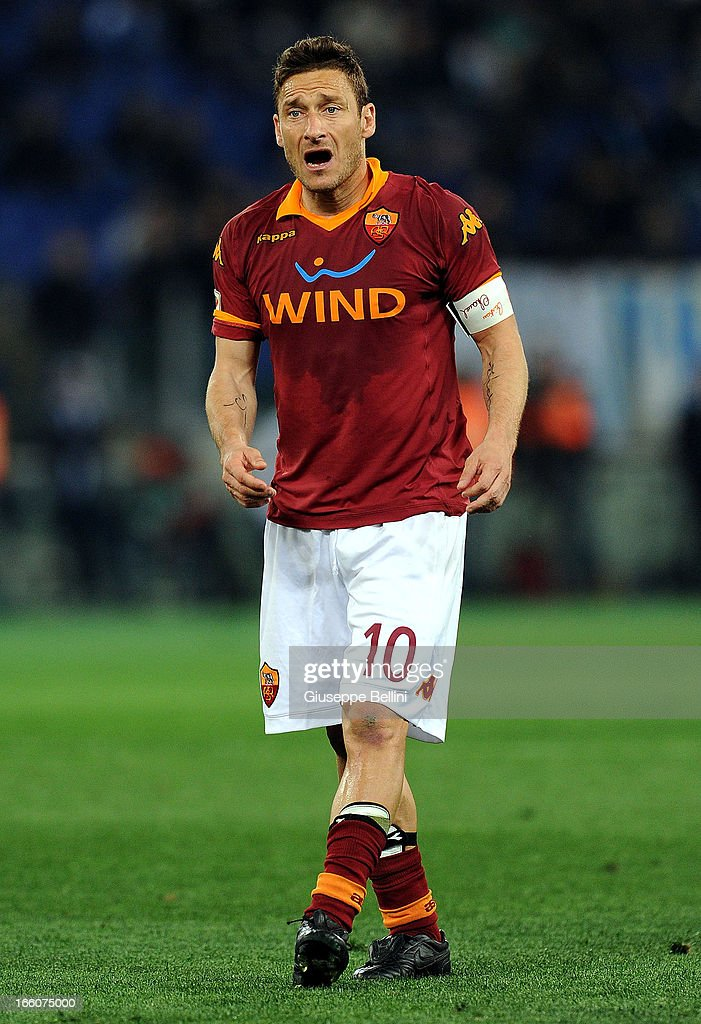 Francesco Totti of Roma during the Serie A match between AS Roma and S.S. Lazio at Stadio Olimpico on April 8, 2013 in Rome, Italy.