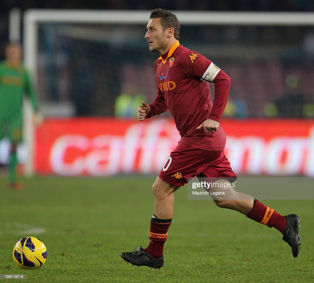 Francesco Totti of Roma during the Serie A match between SSC Napoli and AS Roma at Stadio San Paolo on January 6, 2013 in Naples, Italy.