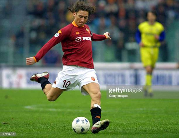 Francesco Totti of Roma in action during the Serie A match between Roma and Chievo played at the Stadio Olimpico Rome Italy on January 12 2002