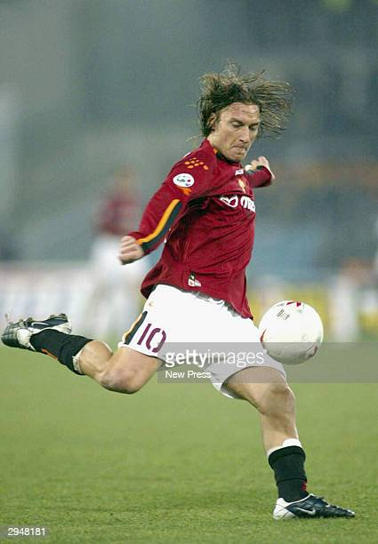Francesco Totti of Roma in action during the Serie A match Between Roma and Juventus at the Stadio Olimpico on February 8 2004 in Rome Italy