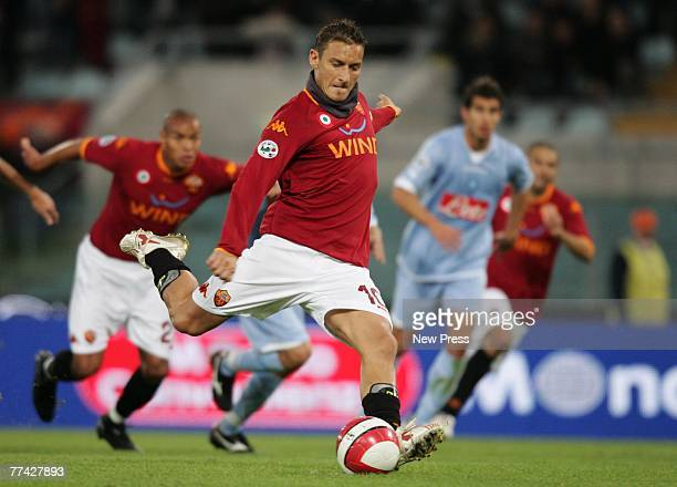 Francesco Totti of Roma scores during the Serie A match between Roma and Napoli on October 20 2007 in Rome Italy