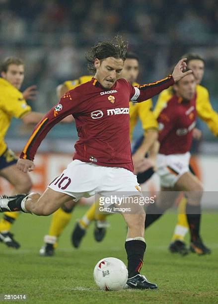 Francesco Totti of Roma scores from the penalty spot during the AS Roma v Modena Serie A match played at the Stadio Olimpico December 14 2003 in Rome...