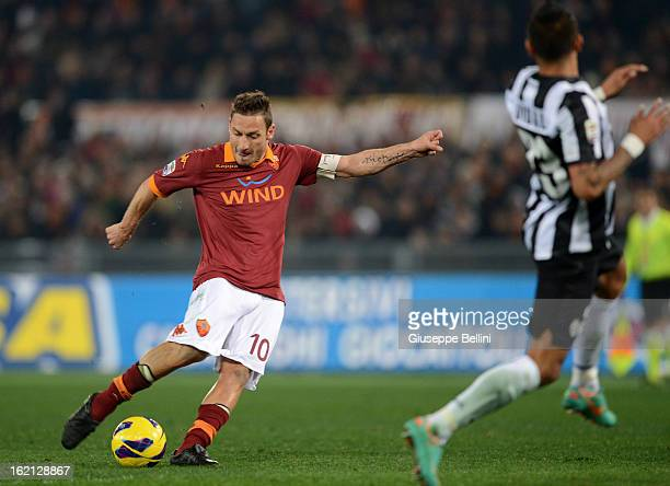 Francesco Totti of Roma scores the opening goal during the Serie A match between AS Roma and Juventus FC at Stadio Olimpico on February 16 2013 in...