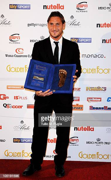 Francesco Totti receives the 2010 Golden Foot award during the Golden Foot Awards ceremony at Fairmont Hotel on October 11 2010 in Monaco Monaco