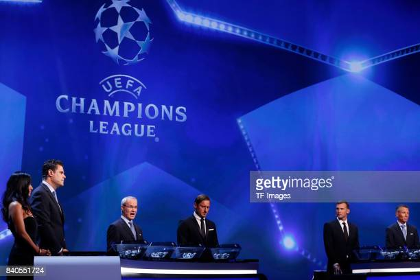 Francesco Totti Shevchenko and Giorgio Marchett looks on i during the UEFA Champions League Group stage draw ceremony at the Grimaldi Forum Monte...