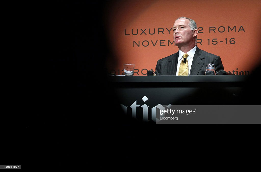 Francesco Trapani, president of watches and jewelry at LVMH Moet Hennessy Louis Vuitton SA (LVMH), speaks during the 2012 Luxury Roma conference at the Rome Cavalieri hotel in Rome, Italy, on Friday, Nov. 16, 2012. The euro-area economy succumbed to a recession for the second time in four years as governments imposed tougher budget cuts and leaders struggled to contain the debt crisis that broke out in October 2009. Photographer: Alessia Pierdomenico/Bloomberg via Getty Images