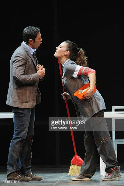 Francesco Venditti and Bianca Guaccero perform at Teatro Nuovo on February 12 2013 in Milan Italy