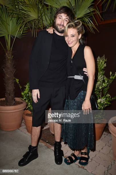 Francesco Vezzoli and Jasmine Trinca attend Fondazione Prada Private Dinner during the 70th annual Cannes Film Festival at Restaurant Fred L'Ecailler...