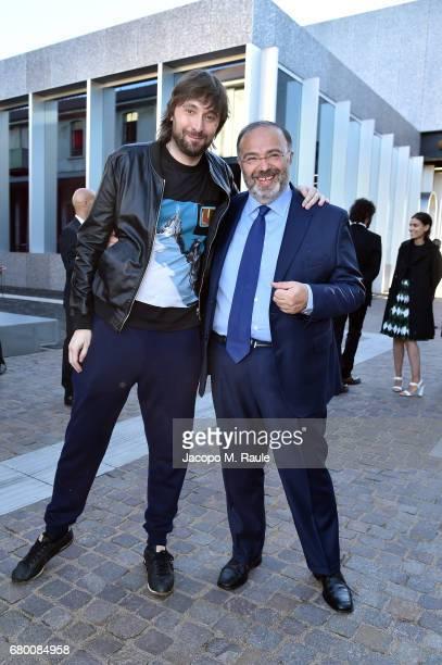 Francesco Vezzoli and Massimo Bernardini attend a 'Private view of 'TV 70 Francesco Vezzoli Guarda La Rai' at Fondazione Prada on May 7 2017 in Milan...