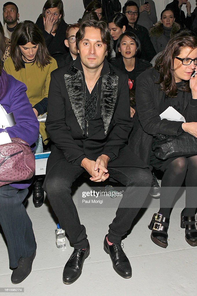 <a gi-track='captionPersonalityLinkClicked' href=/galleries/search?phrase=Francesco+Vezzoli&family=editorial&specificpeople=2214157 ng-click='$event.stopPropagation()'>Francesco Vezzoli</a> attends Rodarte during Fall 2013 Mercedes-Benz Fashion Week on February 12, 2013 in New York City.