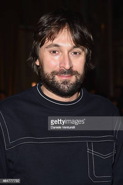 Francesco Vezzoli attends the Emilio Pucci show during the Milan Fashion Week Autumn/Winter 2015 on February 28 2015 in Milan Italy