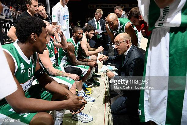 Francesco Vitucci head coach of Sidigas talks over during the LegaBasket Serie A1 match between Granarolo Bologna and Sidigas Avellino at Unipol...