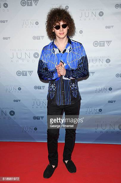 Francesco Yates arrives at the 2016 Juno Awards at Scotiabank Saddledome on April 3 2016 in Calgary Canada