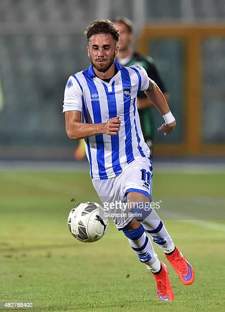 Francesco Zampano of Pescara in action during the preseason friendly match between Pescara Calcio and US Sassuolo Calcio at Adriatico Stadium on...