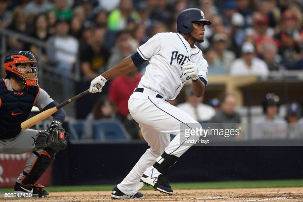 Franchy Cordero of the San Diego Padres bats during the game against the Detroit Tigers at PETCO Park on June 24 2017 in San Diego California