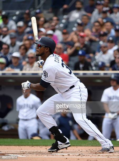 Franchy Cordero of the San Diego Padres plays during a baseball game against the Kansas City Royals at PETCO Park on June 10 2017 in San Diego...