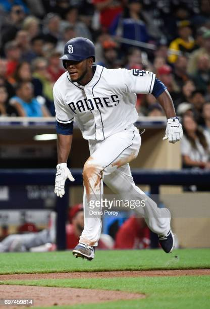 Franchy Cordero of the San Diego Padres plays during a baseball game against the Cincinnati Reds at PETCO Park on June 12 2017 in San Diego California
