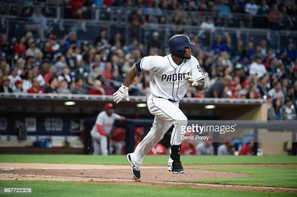 Franchy Cordero of the San Diego Padres plays during a baseball game against the Cincinnati Reds at PETCO Park on June 13 2017 in San Diego California
