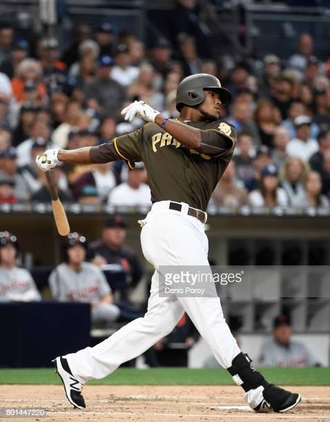 Franchy Cordero of the San Diego Padres plays during a baseball game against the Detroit Tigers at PETCO Park on June 23 2017 in San Diego California